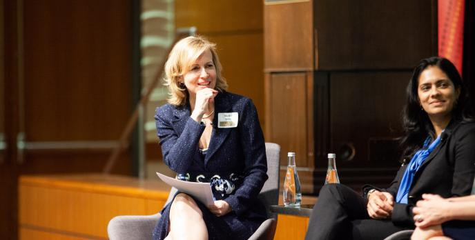 Shellee Smith, executive director for the USC Annenberg Center for Third Space Thinking, moderated an amazing panel of successful professionals at USC Marshal's International Women's Day Celebration which took place at the Tudor Center on March 5.